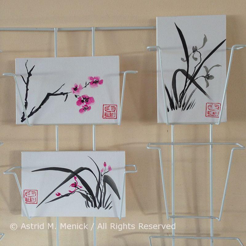 Mijn Sumi-E mini tekeningen passen mooi in dit HEMA kaartenrekje