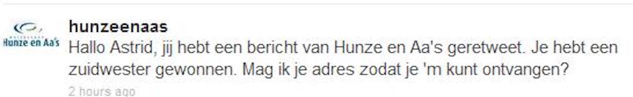 Twitter bericht van Hunze en Aas over gewonnen zuidwester